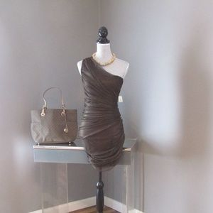 NEW Forever 21 Brown Shimmer One Shoulder Dress M